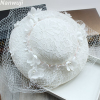 Wedding Hats For Women Vintage Net Bridal Hats B White Wedding Accessorie Brides Fascinator Sinamay Wedding Birdcage Veil