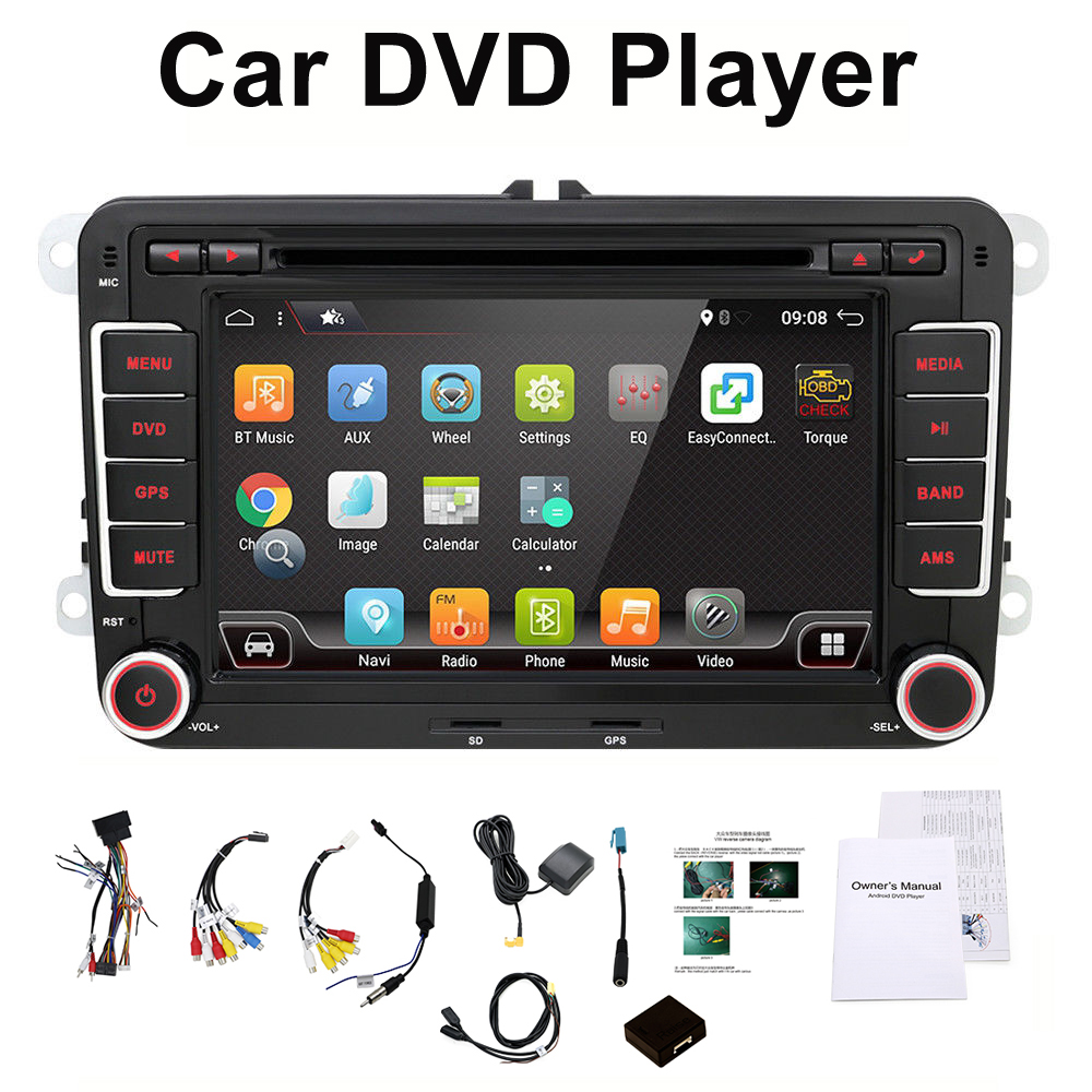 цена на 3G Quad Core 2 din Android 7.1 Car DVD player for VW GOLF 5 Golf 6 POLO PASSAT SKODA CC JETTA TIGUAN TOURAN GPS