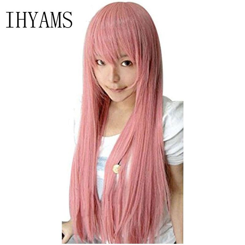 80cm Pink Long Straight Sakura Miku Luka Megurine Rose Quartz Matryoshka Princess Bubblegum Moka Akashiya Cosplay Wig+Wig Cap