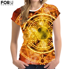 FORUDESIGNS Cool Magic Array Printed T-Shirt for Women Girl Circle Customize Picture Tee Tops Female Casual Summer Tshirt