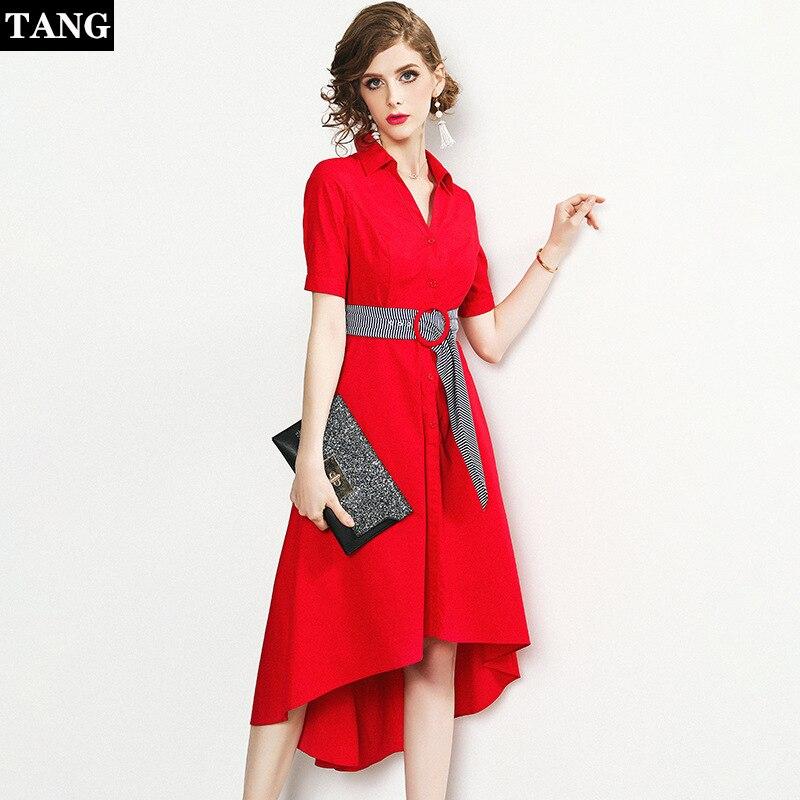 2019 женское хлопковое красное платье сексуальное с отворотом милое летнее дамское платье Новая мода тонкое платье с коротким рукавом для же