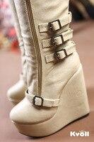 Seal сапоги женская обувь черный бежевый cia кожаные металлические пряжки уплотнения за - - бедро высокие туфли на блок но мотоцикл ботинки