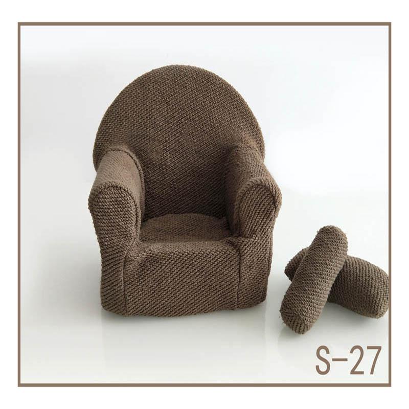 Реквизит для фотосъемки новорожденных, позирующий мини-диван, кресло на руку и 2 подушки, реквизит для фотосессии, студийные аксессуары для детей 0-3 месяцев - Цвет: 27