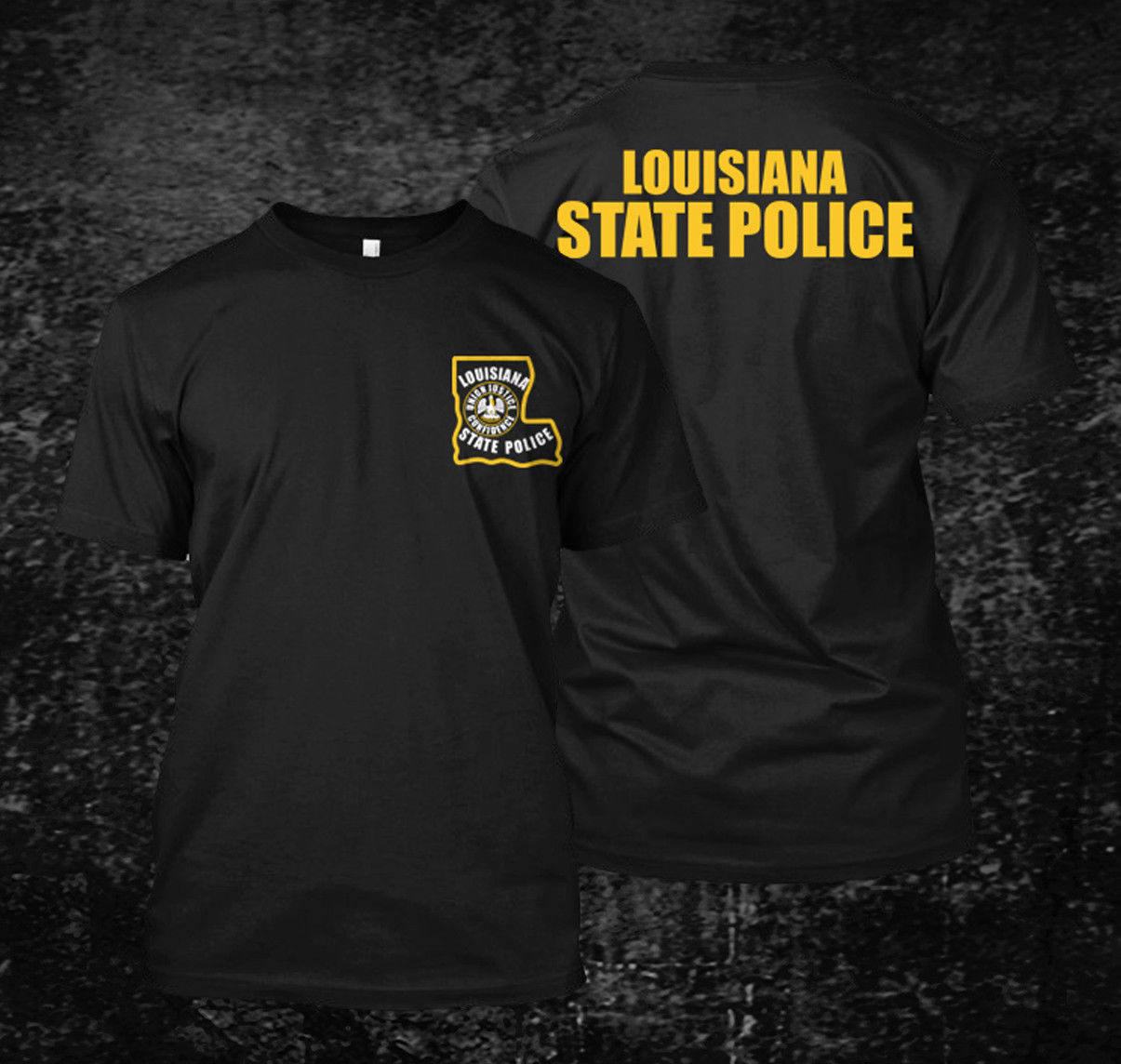 2019 Funny Louisiana State Police - Custom Men'S Black T-Shirt Tee Double Side Unisex Tee
