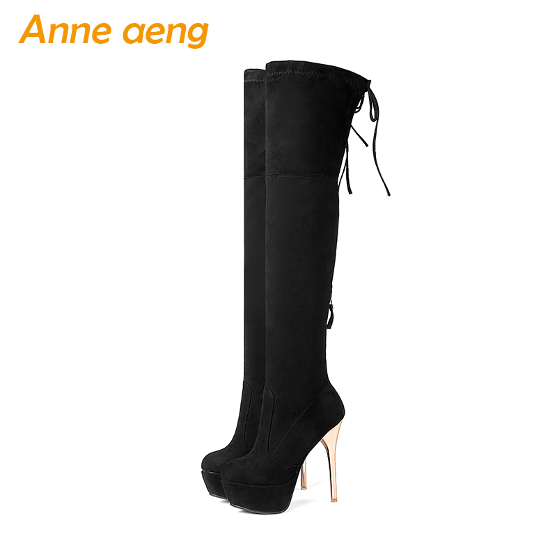 2019 ladies Autumn/Spring kid suede shoes high thin heels women over the knee boots platform sexy motorcycle boots size 34-43 стоимость