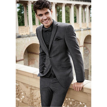 Gray Wedding Men Suits Slim Fit Bridegroom Tuxedos Groomsmen Pants Suit Notched Lapel Formal Business Jacket + Pants