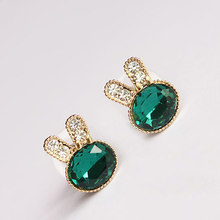 2018 Adomaner Fashion Exquisite Rabbit Stud Earrings Imitation Emerald Crystal Animal Earring For Women Ear Jewelry Whole