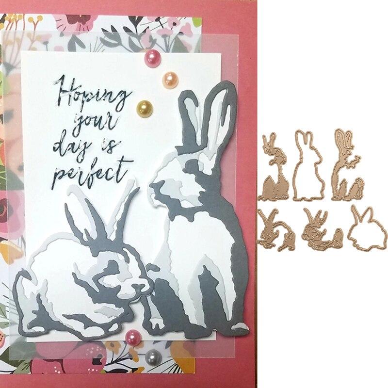 Rabbit Cutting Die Embossing Stencil Paper DIY Craft Scrapbook Paper Cards