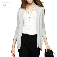 ElaCentelha Women Autumn Winter Top Midi Knitted Cardigan Coat Slim Woman Plus Size Three Quarter Sleeve