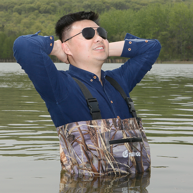 Camo Chest Wader Breathable Waist Belt+Pocket Type Fishing Waders Overalls