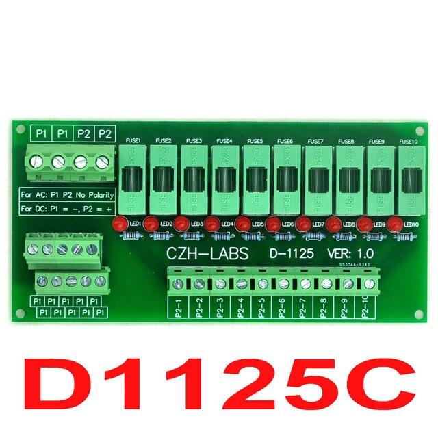 Для Монтажа в панель 10 Позиция Распределения Питания Предохранитель Модуль Доска, для AC/DC 5 ~ 48 В.