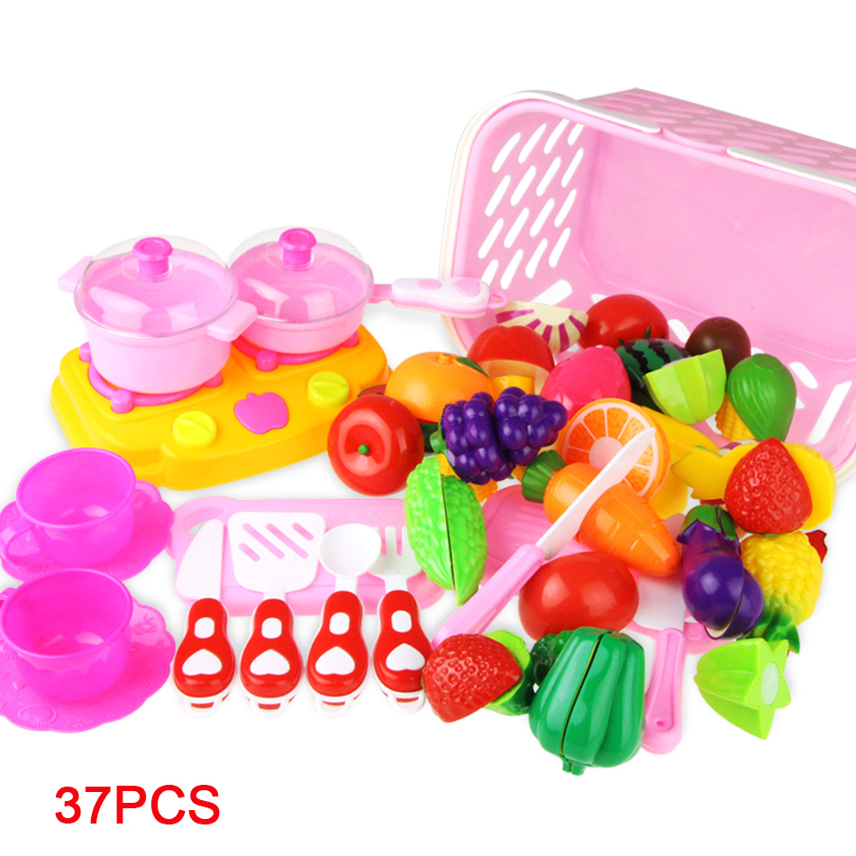 Children Pretend Play Kitchen Toy Set Safety Plastic Fruit Vegetables Cutting Toy Baby Classic Kids Educational For Kids Toys