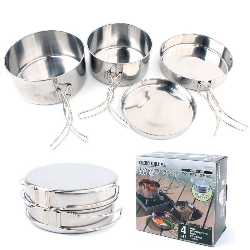 4 IN 1 Outdoor Portable Stainless Steel Camping Cookware Set 2-3 Persons Ultralight Cooking Pots Set for Camping Hiking Picnic kingcamp 2016 big capacity 20l portable ultralight travel car cooler box for outdoor cooking picnic barbecue camping food