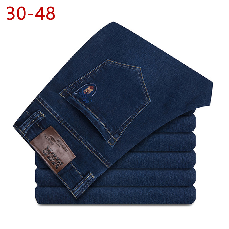 Plus Size 30-48 Summer Men Thin Stretch   Jeans   2018 Spring Autumn Male Casual Straight Brand Denim Baggy Pants For Mens Overalls