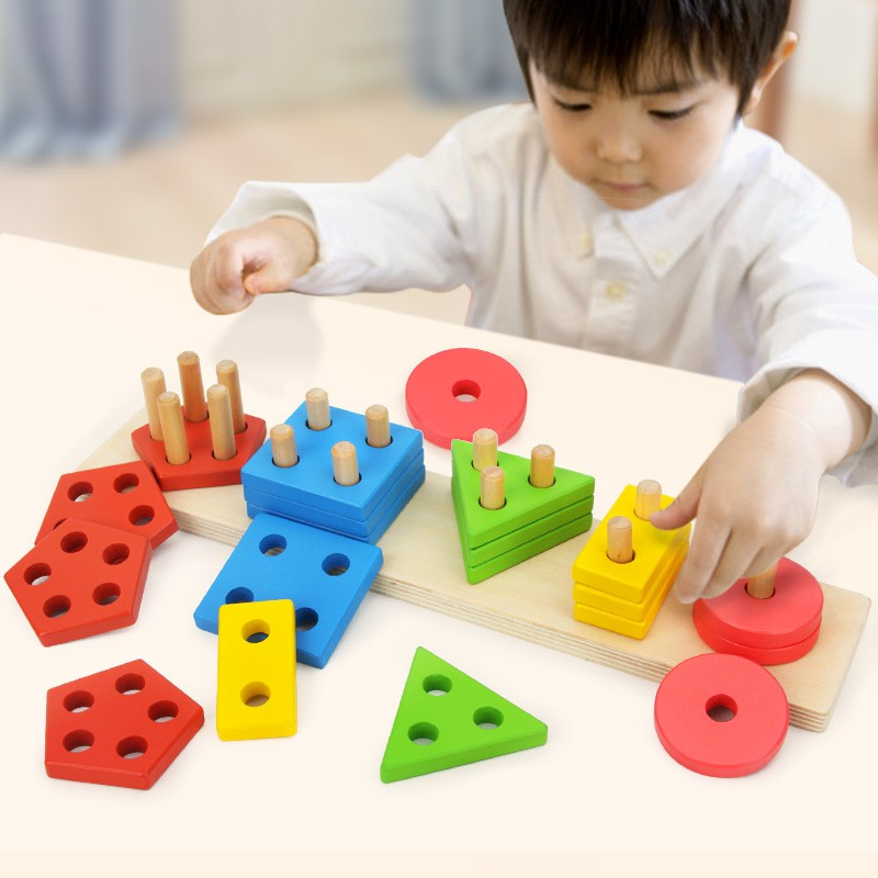 Wooden Geometric Shape Board Toy Montessori Matching Cognition Enlightenment Educational Didactic Games Wood Toys For Baby