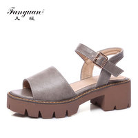 Fanyuan Womens Shoes Summer Sandals Casual Platform Roman Sandals Open Toe Shoes Woman sandalie Females's Footwear Block Heels