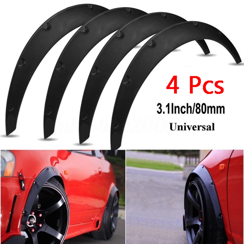 Universal 4 Pcs Car Mudguards Mud Splash Guards Flaps for Fender Flares Widened Body Wheel Arches Eyebrow Protector