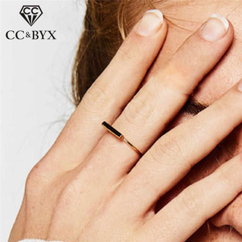 CC Pure 925 Silver Rings For Women Geometric Stick Simple Ring Office Simple Design Trendy Jewelry Party Gift Accessory CC4007