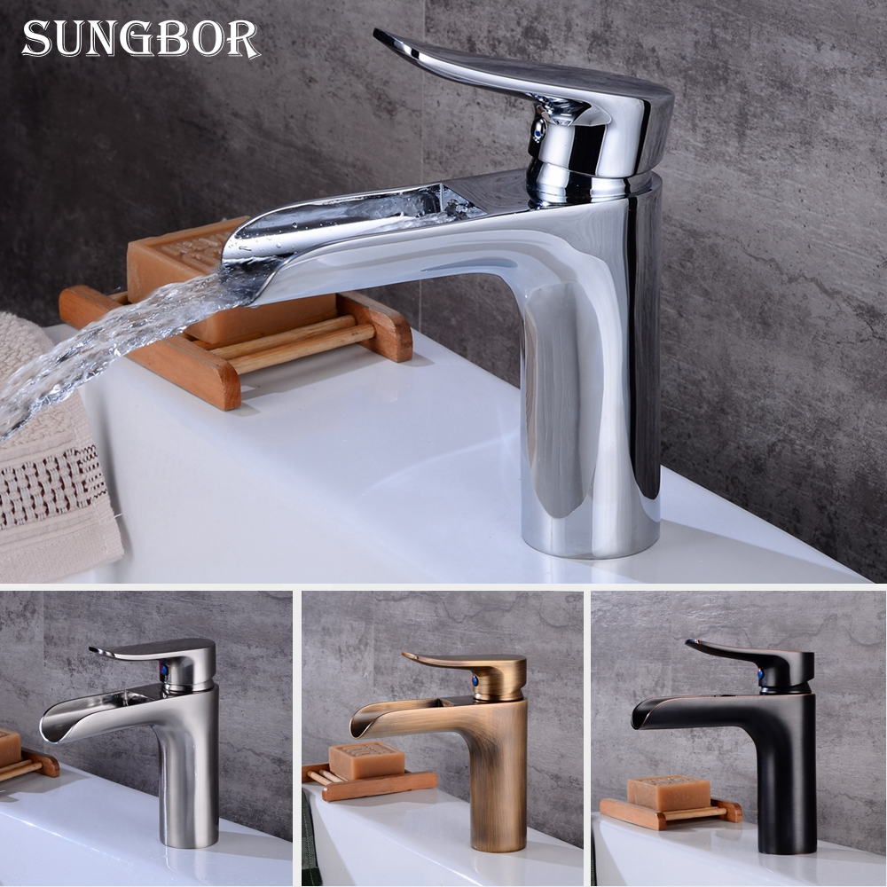 Bathroom Basin Faucet Chrome Brass Vanity Vessel Sinks Washbasin Cold Hot Water Mixer Tap Waterfall Deck