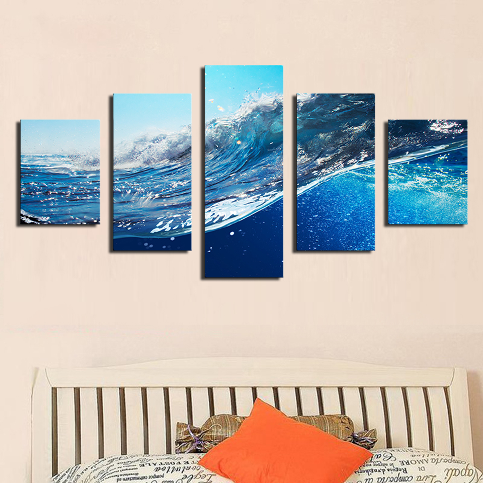 2017 Sale Paintings Cuadros Decoracion 5 Pcs Ocean Wave Sea Sky Painting Printed On Canvas for Home Decor Wall No Frame