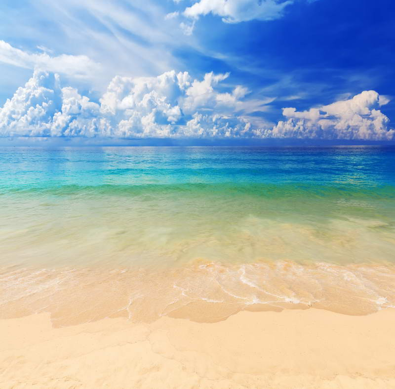 blue sky white clouds sea beach ocean backdrop Vinyl cloth High quality Computer print wall photo studio background