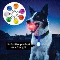 كلب لعب الكرة ضوء الفلورسنت توهج الحيوانات لعبة تفاعلية لجميع الكلاب مع شحن led عاكس قلادة هدية المفضل لوازم