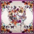 90 см * 90 см Бабочка и Ручная Роспись Цветок женщины шелкового атласа большой площади шарф