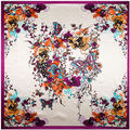 90 cm * 90 cm Mariposa y Flores Pintadas A Mano de las mujeres de seda de satén gran bufanda cuadrada