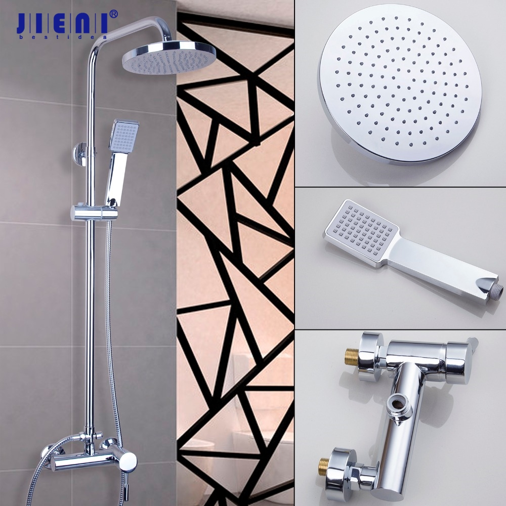 Wall Mount  Overhead Bathroom Rainfall Wall Mount Chrome Handheld Shower 8 Shower Head  Shower Set Faucets premintehdw abs wall mount bathroom folding seat fold up seats shower rv seat