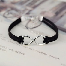 OBSEDE Fashion infinity Rope bracelet Hand-woven 15 Color silver Korean Velvet bracelet Fashion Wrap Leather Jewelry