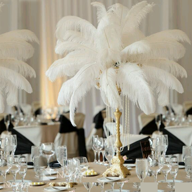Real Weddings Decorations: 40 45cm Real Feather Wedding Decor Gatsby Themed White