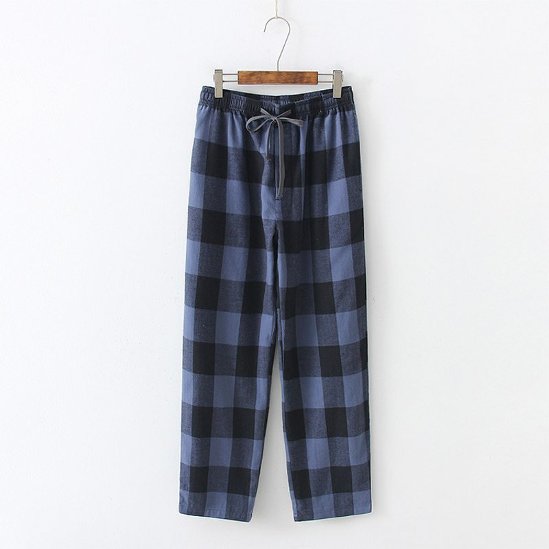78d1ede16deafb 2019 Spring Autumn Plus size home Pants Couples Casual Plaid sleepwear  bottoms Male long nighty pants