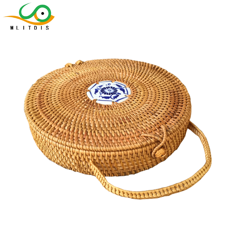 MLITDIS Women Straw Woven Handbags Summer Bags For Women Small Circle Beach Handbags Summer Vintage Rattan Bag Handmade Kintted handmade flower appliques straw woven bulk bags trendy summer styles beach travel tote bags women beatiful handbags