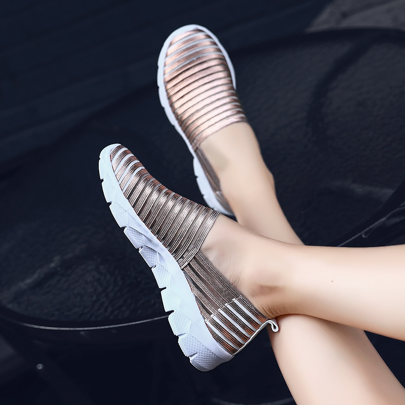 Rommedal Bright women 39 s vulcanize shoes non leather summer spring breathable stripe female causal shoes flat slip on footwear in Women 39 s Vulcanize Shoes from Shoes