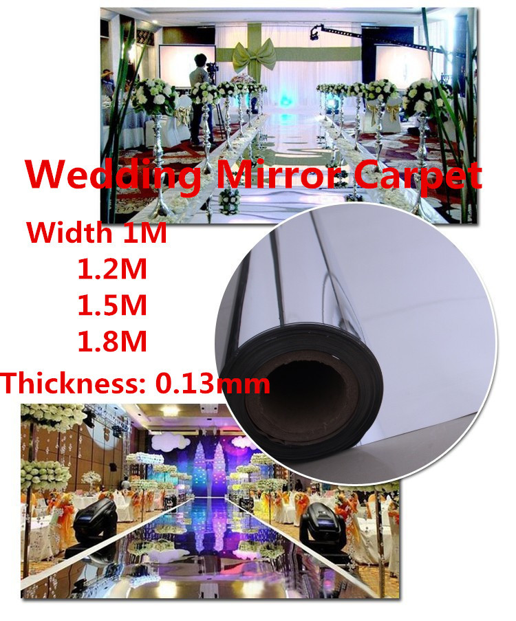 Free Shipping 20meters/lot,1.5meter width,0.13mm thickness,Wedding Mirror Carpet,T Stage Carpet silver