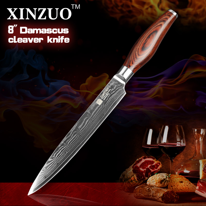 xinzuo Japanese VG10 Damascus steel kitchen font b knife b font 8 inch cleaver font b