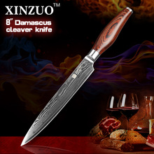 xinzuo Japanese VG10 Damascus steel kitchen knife 8 inch cleaver knives slicing/Carving knife with wood handle FREE SHIPPING