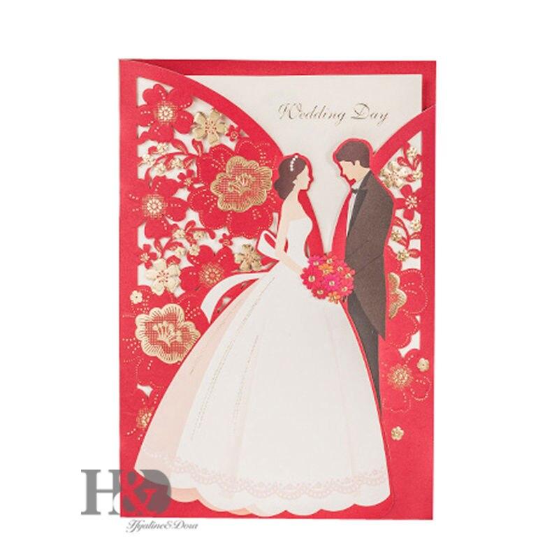 H & D corte láser rojo novia y novio Tarjetas de invitación con los sobres, Sellantes, impresión personalizada de encargo, favores de la boda