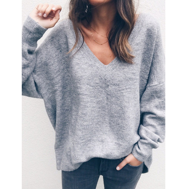 2eb70a249 2019 Autumn Pullover Women Knitted Sweater Deep V Neckline Long Sleeve  tunics Loose Sexy Casual Jumper female Tops Warm Sweaters