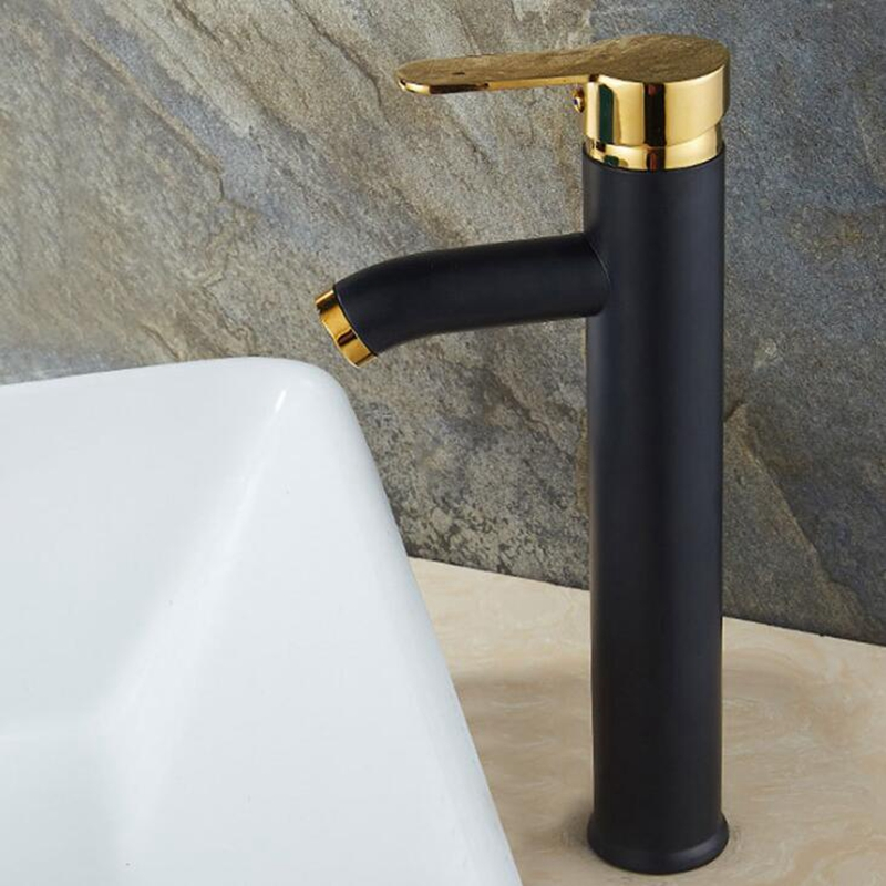 Высокий смеситель для ванной горячей и холодной воды, смеситель для раковины, кран для горячей и холодной воды, черный смеситель с одним отв...