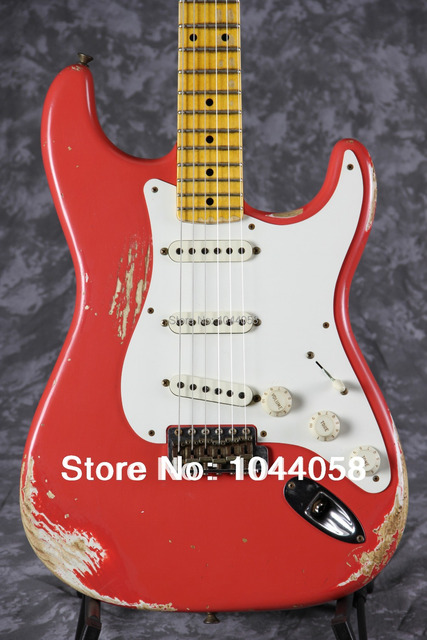 1957 Reissue Heavy Relic Stratocaster Aged Guitar Vintage Faded Fiesta Red ST Electric Strat