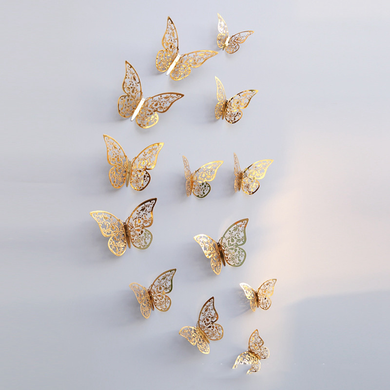 12 Pcs/Set 3D Hollow Butterflies Wall Stickers For Fridge Door Sticker 3 Sizes Silver Rose Gold Home Wedding Decor Paper Crafts