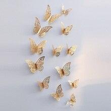 12 Pcs/Set 3D Hollow Butterflies Wall Stickers For Fridge Door Sticker 3 Sizes Silver Rose Gold Home Wedding Decor Paper Crafts