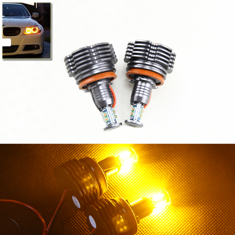 ФОТО Yellow Amber Led Marker Angel Eyes Halo Rings Kit For Bmw E60 E61 E63 E82 E87 E92 E93 E70 E71 X5 X6 M3 DRL Headlight Bulbs Kit