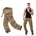 Moda de Los Hombres Sueltan Los Pantalones Holgados de Carga Militar Pantalones Tácticos Oustdoor Algodón Ocasional de Carga Pantalones de Los Hombres de Múltiples Bolsillos Grandes size2016