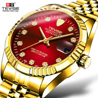Tevise Luxury Brand Men Mechanical Watches Automatic Self Movement Full Steel Tourbillon Gold Auto Date Wristwatches for Mens