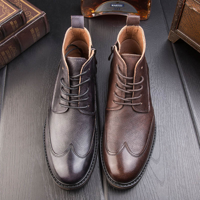 hot 2017 authentic men s boots british tide martin boots men s leather boots leather boots lovers scooter 34 45 British Martin Boots Men Leather Boots Bullock High Help Men Boots Winter Boots Korean Men YC606B-1