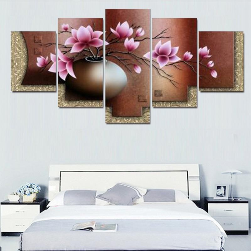 Sin marco) Lona Painting5Panels abstracta moderna el florero en La ...