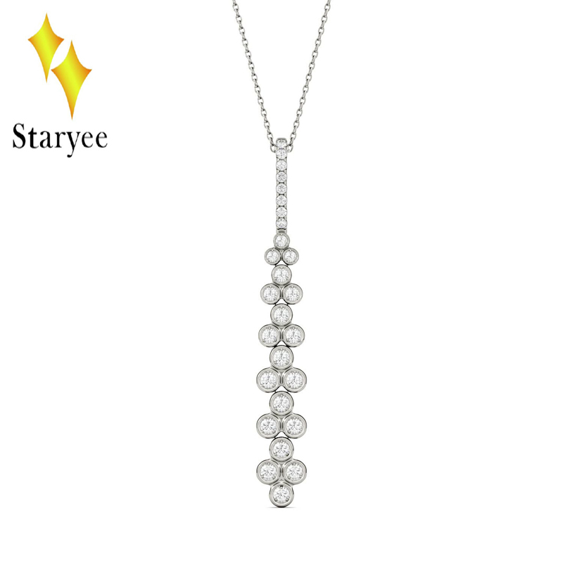 Moissanite Pendant 18K 750 White Gold Lab Grown Moissanite Diamond Pendant Drop Bezel Necklace Chain For Women Jewelry bk 4371 18k alloy crystal artificial fancy color diamond pendant necklace golden 45cm