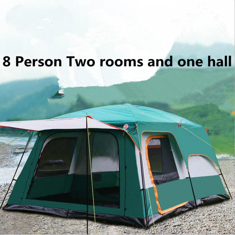 More than 8 person Large Camping tent Waterproof  Fiberglass Family Hiking Tents outdoor Equipment Mountain Party Fishing two person tent outdoor camping tent kit fiberglass pole water resistance with carry bag for hiking traveling 200x120x110cm